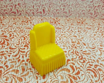Marx Yellow Bedroom Traditional Armless Chair Dollhouse Toy Furniture Hard Plastic