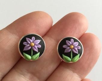 Simple Flower Stud Earrings (Purple)