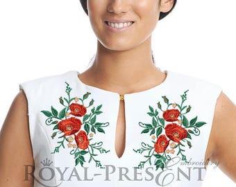 Machine Embroidery Design Elegant flowers poppy - 4 sizes