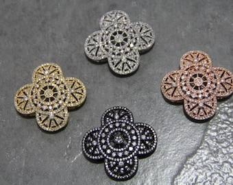 CZ Micro Pave 38mm Hollow Flower  Beads