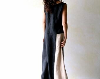 Linen dress, tunic dress, long dress, maxi dress, modern dress, sleeveless dress, pinafore, Medieval dress, sundress, black & white dress