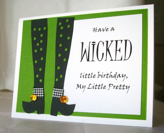 Wicked birthday card halloween birthday card handmade my like this item bookmarktalkfo Image collections