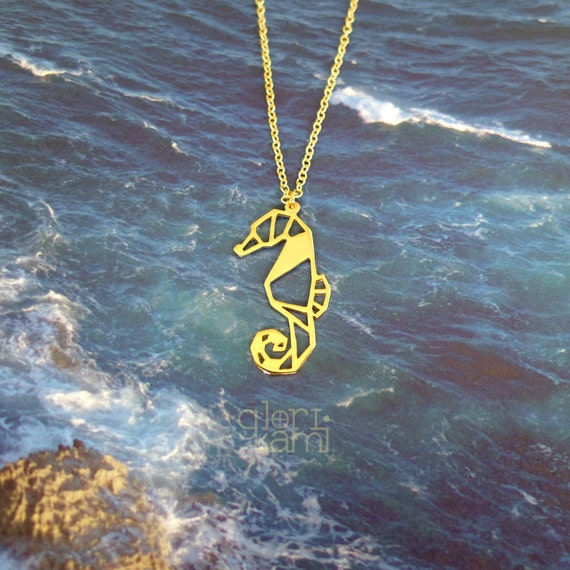 Seahorse Origami Necklace Seahorse Jewelry Geometric
