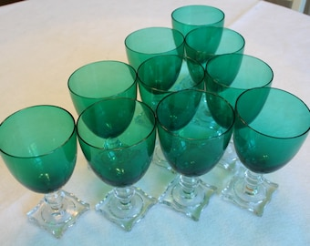 Seneca emerald green stemmed water goblets, iced tea, wine