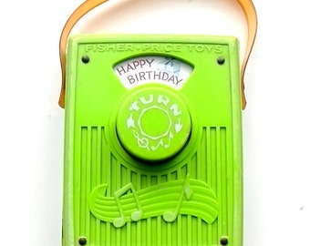 Vintage 1970 Fisher Price Music Box Pocket Radio Happy Birthday To You 768