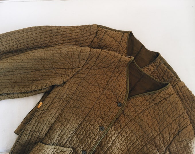 Cotton Quilted Jacket - moss
