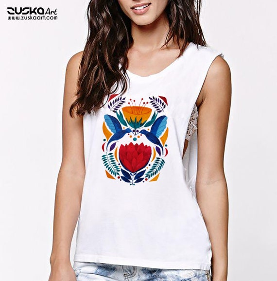 Love birds | Women Sexy and Flowy Muscle Tank Top | Graphic tank top | Watercolor kissing humming birds | Original Artwork | Ethnic Flowers