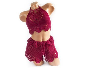 Crochet burgyndy bikini, Summer trends, women's swimwear, top and shopts Dancewear, beachwear