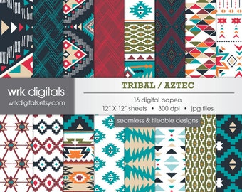 Tribal Digital Paper Pack, Seamless Pattern, Digital Scrapbooking, Instant Download, Aztec Pattern