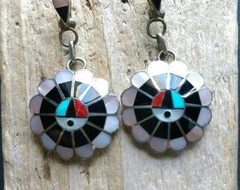 Native American Indian Jewelry,Zuni Jewelry, Turquoise Jewelry, Zuni Inlayed Sun Face Jewelry,Sun God Zuni Earrings.