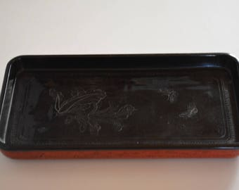 Bamboo tray, hand crafted dish, woven lacquered bamboo plate
