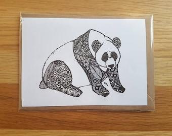 Panda Zentangle A6 Card with Envelope