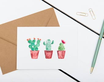 Cactus Cards - Three Cacti In A Row // 1 pack / 5 pack / 10 pack // A6 Greetings Card // Blank Cactus Watercolour Cards