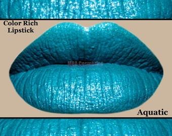 Turquoise Color Rich Lipstick Semi-Matte -Aquatic