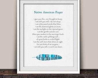 Native American Prayer Print - Serenity Prayer - Sympathy Gift - Serene Prayer - Cherokee Indian Prayer - Healing Prayer - Nature Inspired