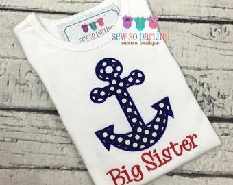 Big sister nautical shirt - Big sister Pregnancy announcement shirt - big sister shirt - big sister outfit - sibling shirt