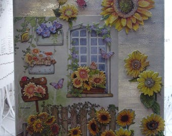 Mothers - picture 3 D hand painted on canvas with bucolic decor