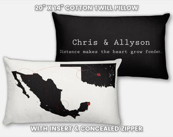 Personalized Couple Gift for Boyfriend Girlfriend Couple Pillow Case Pillowcase Long Distance Couple Gift Anniversary Gift Rustic Home Decor