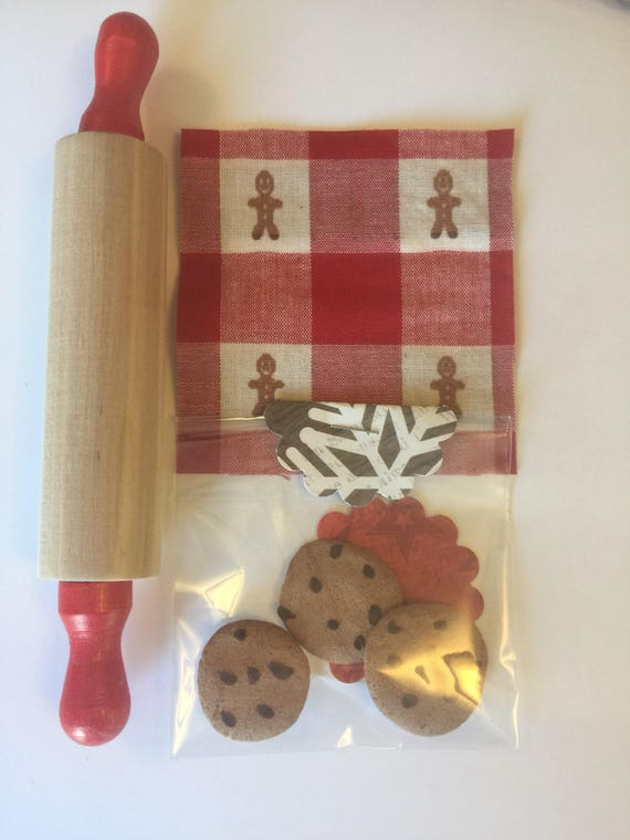 "Pretend Play Chocolate Chip Cookies, Rolling Pin and Napkin -18"" sized Doll bakery items"