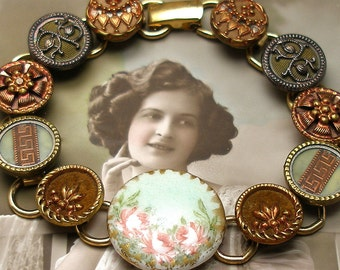 """Antique BUTTONs gold bracelet, Victorian porcelain with flowers in copper & green. 7.5"""" One of a kind."""