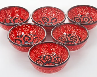 "Handmade Turkish Ottoman Ceramic Red 6 Pieces Nut Bowls 3"" Diameters"