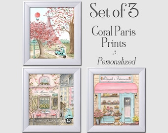 Girls Bedroom Set Of 3 Watercolor Prints Paris Theme Coral Pink, Personalized With Girl's Name, Baby Girl Nursery Wall Art Custom Name Decor