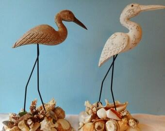 Beautiful Coastal Bird On Shelled Base-Beach Decor-Bird With Shells-White Shore Bird-Seashell-Seashell Art-Shore Bird