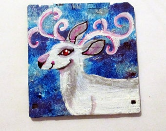 Albino Deer painting - art on recycled floppy disk, mythical wall art, children's room decor, woodland nursery, animal lovers Gift, buck