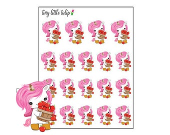 Planner Stickers Unicorn w/ Basket of Apples