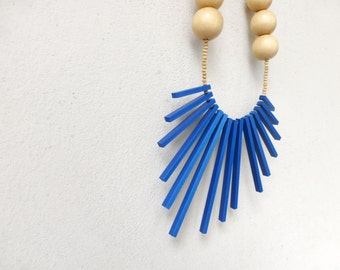 blue and wood tribal necklace , geometric contemporary jewelry