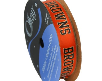 """5/8"""" NFL Cleveland Browns Ribbon, 9 foot spool, Licensed NFL Offray Ribbon"""