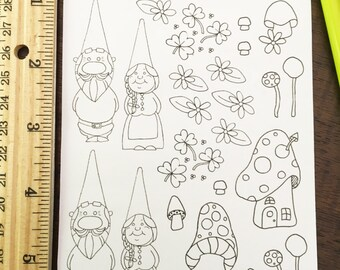 Color Your Own Gnome Stickers