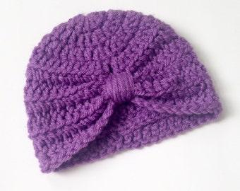 Crochet Infant Turban Hat, turban hat, 3-6 months, crochet hat, purple hat, winter hat, holiday gift, baby hat