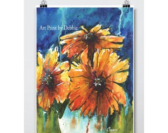 Abstract Flower Art Watercolor Large Print, Sunflowers Yellow Blue Orange Green Colorful Modern Botanical Original Kitchen Wall Art Painting