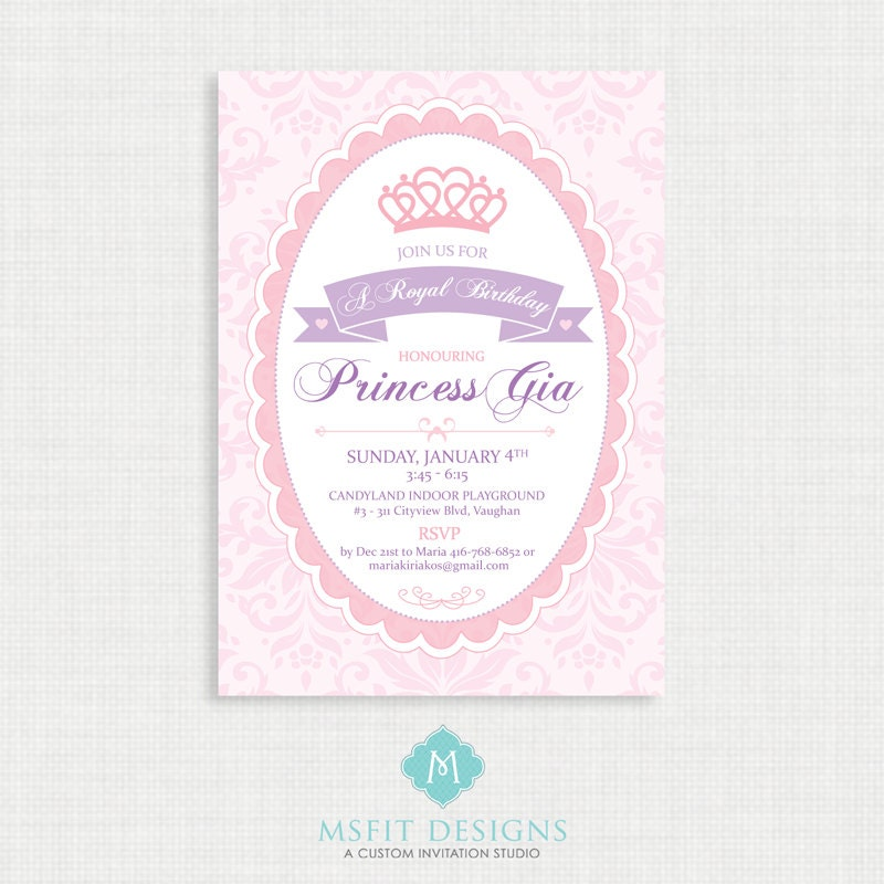 Princess Birthday Invitation- Princess Birthday Invitation, Princess ...