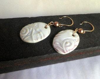 handmade PORCELAIN earrings, dangle