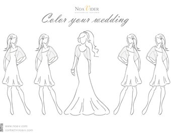 Wedding Planning, Bridal Party Outfit And Accessories Planning. Color Your Wedding- Choose Your Wedding Color Scheme, Bring Your Crayons!