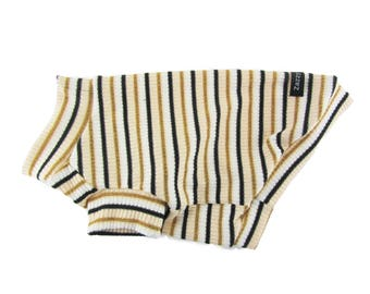 Striped 2 X 2 Rib Knit Dog Sweater Dog Top Dog Clothing Dog Apparel Made in USA for Small Dogs