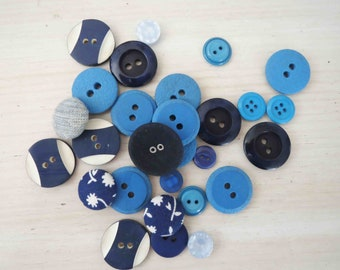 Assorted Blue Buttons x 28
