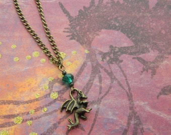 Little Dragon Necklace, Crystal Jewelry, Dragon Gift, Fantasy Jewellery, Fantasy Necklace, Baby Dragon, Dragon Gift, Teal Dragon, Bronze