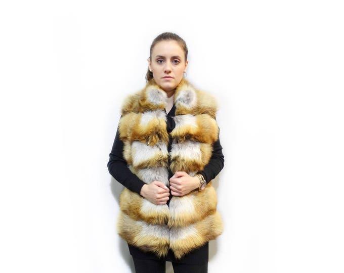Canadian Fox Vest,Golden Fox Fur Vest F296