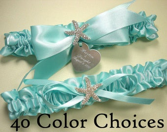 Starfish Beach Wedding Garter Set, Personalized Garters with a Rhinestone Starfish and Engraving