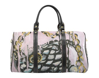 Original Couture Purse Painting Carry On Bag, Travel Bag; Overnight