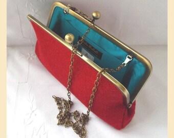 Harris Tweed shoulder bag, red clutch bag, Harris Tweed purse, red evening bag with teal silk lining, tweed handbag