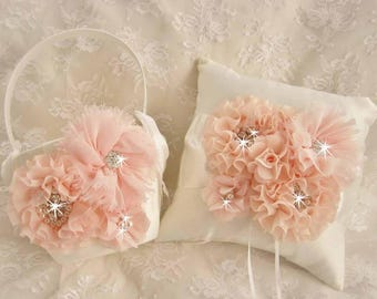 SALE Flower Girl Basket Set, Ring Bearer Pillow, Blush Flower Girl Basket Set Wedding Pillow Elegant and Classic