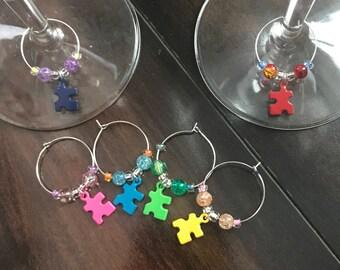 Puzzle Pieces Wine Glass Charms, Rainbow Wine Glass Charms, Hostess Gift, Wine Accessories, Wine Housewarming