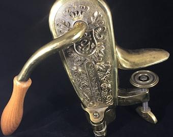 Vintage Solid Brass Corkscrew Wine Bottle Opener Le Grape