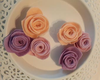 Handmade lilac/baby pink/peach scallop small felt roses.