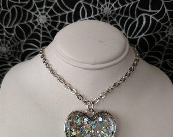 Silver Rainbow Flash Glitter Heart Pendant, Reversible, Double Sided