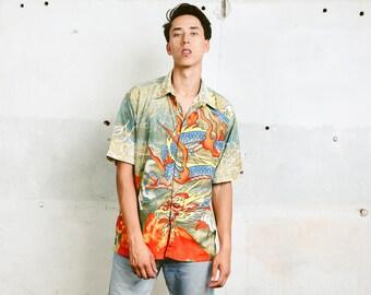 Men's Dragon Print Shirt . Vintage Button Down 90s Shirt Psychedelic Patterned Shirt Vacation Shirt Boyfriend Shirt . size Medium